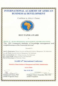 Best Paper Award - Knowledge Management and High Performance Organisations in the Financial Institutions in Uganda